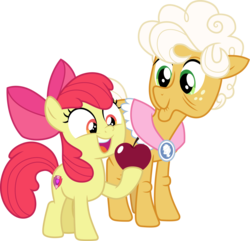 Size: 3112x3000 | Tagged: safe, artist:cloudyglow, artist:parclytaxel, apple bloom, goldie delicious, earth pony, pony, going to seed, spoiler:s09e10, .svg available, apple, female, filly, food, high res, hoof hold, mare, simple background, smiling, transparent background, vector