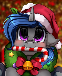 Size: 1446x1764 | Tagged: alicorn, alicorn oc, artist:pridark, bell, blushing, candy, candy cane, christmas, commission, cute, food, hat, holiday, mouth hold, oc, ocbetes, oc:blossom, pony, pridark's christmas ponies, safe, santa hat, solo, wreath, ych result