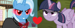 Size: 1340x498 | Tagged: safe, edit, edited screencap, screencap, mean twilight sparkle, trixie, alicorn, pony, unicorn, magic duel, the mean 6, alicorn amulet, cape, clothes, female, heart, lesbian, mare, mean twixie, shipping, shipping domino, twixie