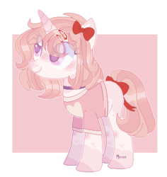 Size: 378x401 | Tagged: safe, artist:moon-rose-rosie, oc, oc:peach, pony, unicorn, base used, bow, clothes, collar, eye clipping through hair, female, hair bow, hairpin, pink background, simple background, tail bow, transparent background