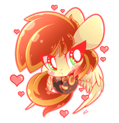 Size: 814x840 | Tagged: safe, artist:hungrysohma, oc, oc:bracer, pegasus, pony, blushing, chibi, clothes, cute, female, grumpy, heart, simple background, transparent background