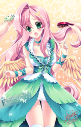 Size: 476x742 | Tagged: anime, artist:sakuranoruu, blushing, breasts, brush, busty fluttershy, clothes, cute, dress, female, fluttershy, green isn't your color, hair accessory, hairbrush, human, humanized, offscreen character, offscreen human, open mouth, safe, shyabetes, solo, winged humanization, wings
