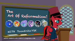 Size: 911x500 | Tagged: 2016, alicorn, artist:samoht-lion, chalkboard, clothes, discord, draconequus, female, glasses, hat, hilarious in hindsight, irony, king sombra, male, mare, necktie, oc, oc:toonkriticy2k, pegasus, pony, princess luna, safe, smiling, stallion, starlight glimmer, suit, sunset shimmer, title card, top hat, trixie, unicorn