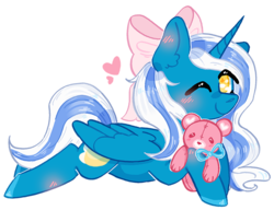 Size: 826x636 | Tagged: safe, artist:rednineuwu, oc, oc:fleurbelle, alicorn, pony, adorable face, alicorn oc, blushing, bow, bowtie, cute, ear fluff, female, hair bow, heart, mare, one eye closed, smiley face, smiling, smiling at you, sweet, teddy bear, wink, yellow eyes