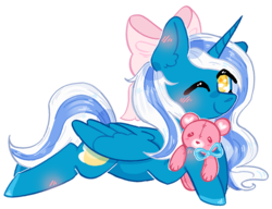 Size: 826x636 | Tagged: safe, alternate version, artist:rednineuwu, oc, oc:fleurbelle, alicorn, pony, adorable face, alicorn oc, bow, bowtie, cute, ear fluff, female, hair bow, mare, one eye closed, smiling, smiling at you, teddy bear, toy, wink, winking at you, yellow eyes