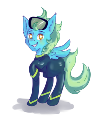 Size: 1713x2198 | Tagged: safe, artist:frost, oc, oc:sea glow, pegasus, pony, looking at you, scuba mask, smiling, solo, wetsuit