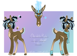 Size: 1652x1199 | Tagged: safe, artist:moonwolf96, oc, oc:chocolate rain, deer, deer pony, original species, clothes, deer magic, female, magic, reference sheet, scarf, solo, tongue out