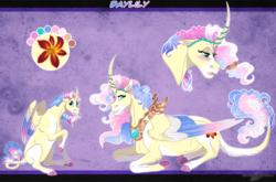 Size: 1340x883 | Tagged: safe, artist:bijutsuyoukai, oc, oc:daylily, alicorn, pony, female, filly, magical lesbian spawn, mare, offspring, parent:fluttershy, parent:princess celestia, parents:flutterlestia, prone, reference sheet, solo