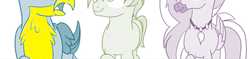 Size: 1277x302 | Tagged: safe, artist:gooeybird, artist:sintakhra, color edit, edit, gallus, sandbar, silverstream, griffon, hippogriff, pony, color error, colored, female, low angle, male, raised arm, raised hoof, version 1, wrong color, yellow, yellow feathers