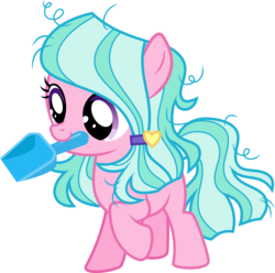 Size: 3028x3000 | Tagged: safe, artist:sollace, sugar stix, earth pony, pony, between dark and dawn, spoiler:s09e13, .svg available, cute, female, filly, raised leg, simple background, solo, transparent background, trowel, vector