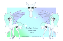 Size: 4000x2600 | Tagged: artist:moonwolf96, bat pony, female, mare, oc, oc:silverlight nocturn, pony, reference sheet, safe, solo