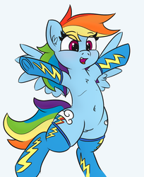 Size: 958x1174 | Tagged: artist:jargon scott, belly button, both cutie marks, clothes, colored, color edit, cute, dashabetes, edit, female, i can't believe it's not pabbley, mare, open mouth, pegasus, pony, rainbow dash, safe, socks, solo, spread wings, style emulation, wings