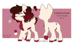 Size: 1672x1035 | Tagged: artist:moonwolf96, deer, deer pony, eyes closed, female, mare, oc, oc:crimson cloud, original species, reference sheet, safe, solo