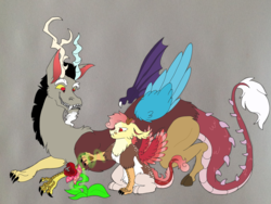 Size: 1817x1369 | Tagged: artist:nightshade2004, carnivorous plant, discord, father and son, hybrid, interspecies offspring, magic, male, oc, oc:lisianthus, offspring, parent:discord, parent:fluttershy, parents:discoshy, safe