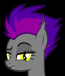 Size: 2423x2831 | Tagged: safe, artist:jackiejak, derpibooru exclusive, oc, oc only, oc:nightfire, bat pony, pony, bat pony oc, simple background, smiling, smirk, solo, transparent background