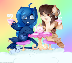 Size: 4068x3582 | Tagged: safe, artist:sparkie45, oc, oc only, oc:daisy sweet, oc:lorelei snowflake, pegasus, pony, base used, cup, female, horns, mare, table, teacup, teapot