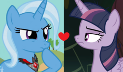 Size: 1876x1100 | Tagged: safe, edit, edited screencap, screencap, mean twilight sparkle, trixie, alicorn, pony, unicorn, magic duel, the mean 6, alicorn amulet, female, heart, lesbian, mare, mean twixie, shipping, shipping domino, twixie