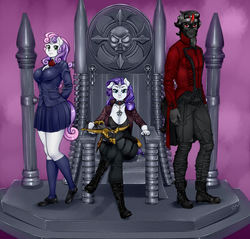 Size: 900x861   Tagged: safe, artist:pia-sama, king sombra, rarity, sweetie belle, anthro, unicorn, arbmos, big breasts, breasts, busty rarity, busty sweetie belle, cleavage, commission, crossbow, female, male, mare, older, older sweetie belle, stallion, throne