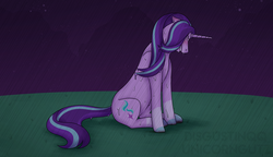Size: 2000x1148 | Tagged: artist:unicorngutz, blaze (coat marking), crying, eyes closed, female, hill, mare, markings, night, pony, rain, redesign, sad, safe, solo, starlight glimmer, unicorn, wet, wet mane