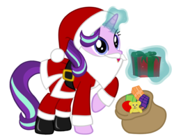 Size: 1024x803 | Tagged: artist needed, boots, christmas, clothes, costume, fake beard, female, glowing horn, hat, holiday, horn, looking at you, magic, mare, pony, present, raised hoof, sack, safe, santa beard, santa claus, santa costume, santa hat, santa sack, shoes, simple background, solo, starlight glimmer, telekinesis, transparent background, unicorn, vector