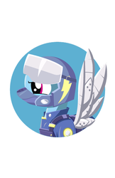 Size: 388x600 | Tagged: alternate timeline, amputee, apocalypse dash, armor, artificial wings, artist:samoht-lion, augmented, bust, crystal war timeline, female, helmet, mare, pegasus, pony, prosthetic limb, prosthetics, prosthetic wing, rainbow dash, safe, simple background, solo, white background, wings, wonderbolts