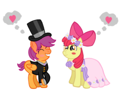 Size: 2732x2048 | Tagged: safe, artist:turnaboutart, apple bloom, scootaloo, earth pony, pegasus, pony, fanfic:twilight and skaterloo: mother and son, a canterlot wedding, blushing, blushing profusely, bow, clothes, colt, dress, female, filly, flower, flower filly, flower girl, flower girl dress, flower in hair, hair bow, half r63 shipping, hat, heart, male, requested art, rule 63, scootabloom, scooteroll, shipping, simple background, skaterbloom, straight, suit, thought bubble, top hat, transparent background