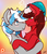 Size: 1024x1180 | Tagged: safe, artist:chebypattern, oc, oc only, oc:cinnamon pop, oc:sekr gray, pegasus, pony, unicorn, abstract background, blushing, bowtie, christmas, female, hat, heart, holiday, hug, looking at each other, love, male, oc x oc, patreon, patreon logo, patreon reward, santa hat, sekramon, shipping, signature, simple background, smiling, straight