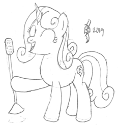 Size: 720x776 | Tagged: safe, artist:parclytaxel, sweetie belle, pony, unicorn, series:nightliner, cutie mark, eyes closed, female, hoof hold, lineart, mare, microphone, monochrome, older, older sweetie belle, pencil drawing, singing, sketch, smiling, solo, the cmc's cutie marks, traditional art