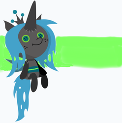 Size: 585x589 | Tagged: artist:frownfactory, artist:gooeybird, belt, changeling, changeling plushie, changeling queen, cute, female, green background, green belt, hoof hold, hooves, horn, mare, plushie, plush in hoof, queen chrysalis, safe, sandbar, simple background, solo, spoiler:s09e24, spoiler:s09e25, striped background, the ending of the end