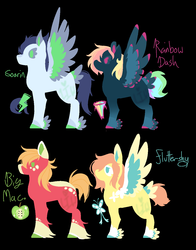Size: 1100x1400 | Tagged: alternate cutie mark, alternate design, artist:lepiswerid, big macintosh, black background, coat markings, colored hooves, colored wings, colored wingtips, cutie mark, earth pony, feathered fetlocks, female, fluttermac, fluttershy, male, mare, multicolored wings, pegasus, rainbow dash, redesign, safe, shipping, simple background, soarin', soarindash, stallion, straight, tail feathers, unshorn fetlocks, wings