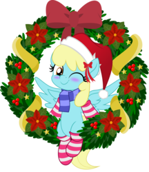 Size: 5000x5786 | Tagged: artist:jhayarr23, background pony, blushing, bow, christmas, clothes, cute, female, hat, holiday, mare, one eye closed, pegasus, pony, safe, santa hat, sassaflash, scarf, simple background, socks, solo, striped socks, transparent background, wink, wreath, ych result