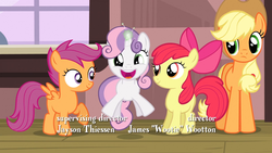 Size: 1920x1080 | Tagged: safe, screencap, apple bloom, applejack, scootaloo, sweetie belle, earth pony, pegasus, pony, unicorn, one bad apple, cute, cutie mark crusaders, diasweetes, female, filly, happy, mare, train station