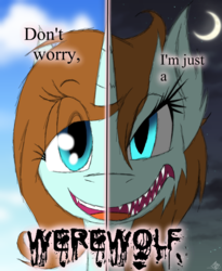 Size: 985x1200 | Tagged: artist:didun850, bust, crescent moon, eye clipping through hair, female, mare, moon, oc, oc:hope, oc only, pony, safe, sharp teeth, smiling, solo, split screen, teeth, text, two sided posters, unicorn, werewolf