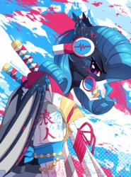 Size: 1200x1618 | Tagged: safe, artist:redchetgreen, part of a set, oc, oc only, oc:shadow diamond, bat pony, pony, bat pony oc, blot, headphones, mask, paint, solo, sword, weapon