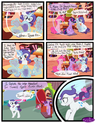Size: 3500x4500 | Tagged: safe, artist:becauseimpink, pinkie pie, rarity, twilight sparkle, pony, unicorn, comic:transition, book, bookcase, bubble berry, comic, dialogue, dusk shine, elusive, glowing horn, golden oaks library, horn, magic, male, rule 63, running, sitting, stallion, telekinesis, transgender