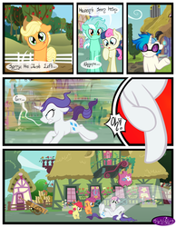 Size: 3500x4500 | Tagged: safe, artist:becauseimpink, apple bloom, bon bon, dj pon-3, lyra heartstrings, rarity, scootaloo, sweetie belle, sweetie drops, vinyl scratch, earth pony, pony, unicorn, comic:transition, applebuck, colt, comic, cutie mark crusaders, dialogue, elusive, eyes closed, guyra, male, on back, raised hoof, rule 63, running, scooteroll, silver bell, stallion, transgender, tripping