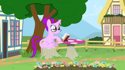 Size: 6158x3467 | Tagged: safe, artist:tsabak, oc, oc only, pony, unicorn, absurd resolution, book, female, fence, flower, glasses, mare, mushroom table, solo, tree, tree stump