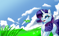 Size: 5645x3508 | Tagged: artist:skyart301, cloud, looking up, pony, rarity, safe, scenery, sky, solo