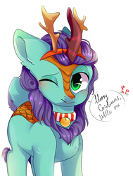 Size: 2329x3084 | Tagged: antlers, artist:pledik808, bell, bell collar, blushing, christmas, collar, deer, holiday, hybrid, kirin, oc, oc:searing cold, one eye closed, reindeer, reindeer antlers, safe, wink