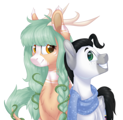 Size: 1763x1712 | Tagged: antlers, artist:doekitty, clothes, hybrid, male, oc, oc:forest keeper, oc only, oc:thomas, safe, scarf, simple background, stallion, transparent background