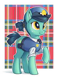 Size: 900x1200 | Tagged: safe, artist:shydale, leigh stride, earth pony, pony, spoiler:comic, spoiler:comic83, abstract background, butt freckles, female, freckles, mare, police badge, police hat, police pony, police uniform, rolled up sleeves, solo