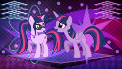 Size: 3840x2160 | Tagged: alicorn, artist:estories, artist:frownfactory, artist:laszlvfx, duo, edit, equestria girls, equestria girls ponified, female, geode of telekinesis, glasses, jewelry, magical geodes, mare, necklace, ponified, pony, safe, sci-twi, self ponidox, twilight sparkle, twilight sparkle (alicorn), unicorn, unicorn sci-twi, wallpaper, wallpaper edit