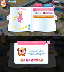 Size: 1280x1440 | Tagged: safe, lily, lily valley, earth pony, pony, bio, flower, flower in hair, game screencap, gameloft, gem, stars