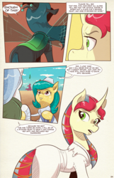Size: 1253x1950 | Tagged: artist:saturdaymorningproj, bandage, changeling, changeling queen, comic, comic:i await a guardian, curved horn, earth pony, female, horn, oc, pony, queen chrysalis, safe, unicorn