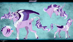 Size: 1558x895 | Tagged: safe, artist:bijutsuyoukai, oc, oc:halley, alicorn, pony, curved horn, female, horn, lipstick, magical lesbian spawn, mare, multicolored hair, offspring, parent:rarity, parent:twilight sparkle, parents:rarilight, reference sheet, solo
