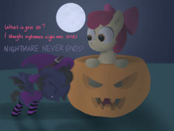 Size: 4000x3000 | Tagged: 5-year-old, apple bloom, artist:darkshock, bat pony, canon x oc, clothes, costume, dialogue, earth pony, female, filly, halloween, halloween costume, holiday, moon, nightmare night, oc, oc:shadow faith, pony, pumpkin, pushing, safe, shipping, socks, spread wings, striped socks, wings