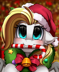 Size: 1446x1764 | Tagged: safe, artist:pridark, oc, oc:celestial aegis, bat pony, pony, bat pony oc, bell, blushing, candy, candy cane, christmas, commission, cute, cute little fangs, fangs, food, hat, holiday, mouth hold, ocbetes, pridark's christmas ponies, santa hat, solo, wreath, ych result