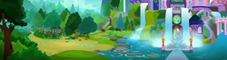 Size: 4040x1080 | Tagged: bush, cloud, forest, glitter, lake, mountain, nature, panorama, path, pegasus, pony, rainbow dash, rock, safe, scenery, school of friendship, screencap, sky, stairs, the end in friend, tree, waterfall
