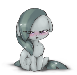 Size: 1634x1586 | Tagged: alternate version, angry, artist:buttersprinkle, blushing, chest fluff, cute, earth pony, female, floppy ears, grumpy, hnnng, madorable, marblebetes, marble pie, mare, pony, pouting, safe, simple background, sitting, :t, weapons-grade cute, white background