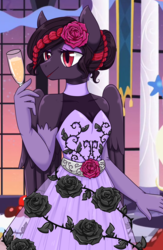 Size: 1700x2600 | Tagged: anthro, artist:jagga-chan, black rose, champagne glass, clothes, dress, female, gala dress, mare, oc, pegasus, safe, solo